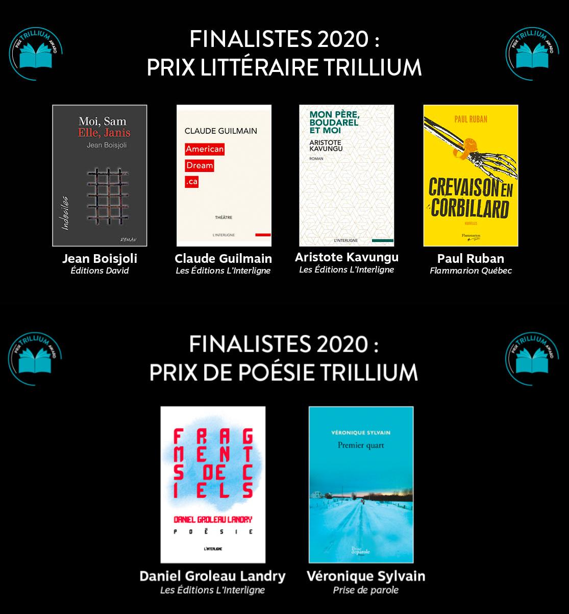 Finalistes Prix Trillium 2020
