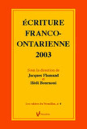 Écriture franco-ontarienne 2003